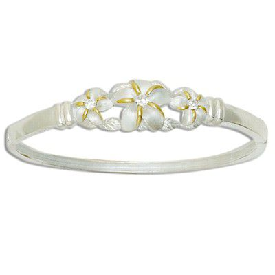 Sterling Silver Triple Two Tone Hawaiian Plumeria Design Bangle with Hinge Opening