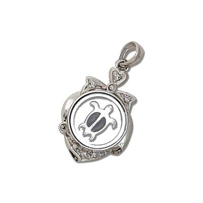 Sterling Silver Hawaiian Spinning HONU with CZ Pendant