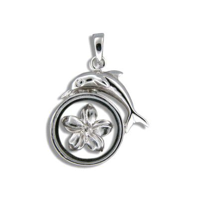 Sterling Silver Hawaiian Spinning Plumeria with Dolphin  Pendant