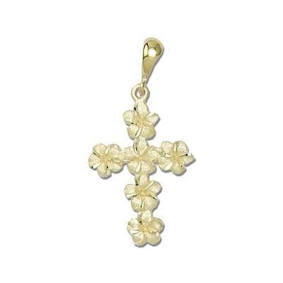 14kt Gold Plumeria Leis Cross Pendant