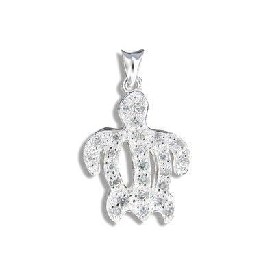 Sterling Silver Hawaiian HONU with CZ Pendant