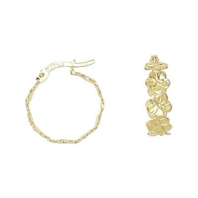 14kt Yellow Gold Hawaiian 4mm Plumeria Cut-Out Hoop Earrings