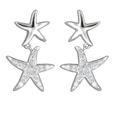 Sterling Silver Hawaiian Starfish Floating with Clear CZ Earrings