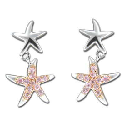 Sterling Silver Hawaiian Starfish Floating with Pink CZ Earrings