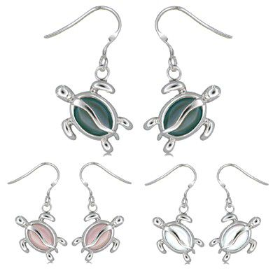 Sterling Silver Hawaiian Honu with Mother of Pear Fish Wire Earrings