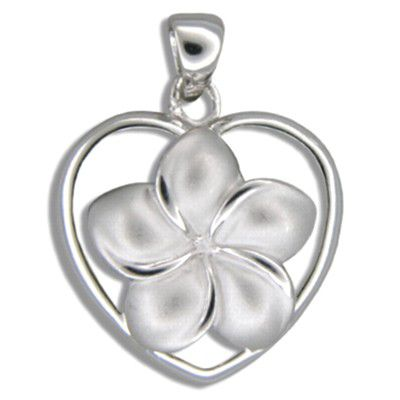 Sterling Silver 15MM Hawaiian Plumeria in Heart Design Pendant