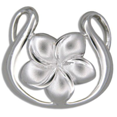 Sterling Silver 15MM Hawaiian Plumeria in Harp Shaped Pendant
