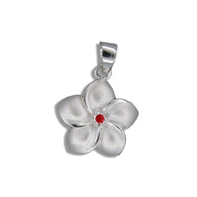 Sterling Silver Hawaiian 15MM Plumeria with Red CZ Design Pendant
