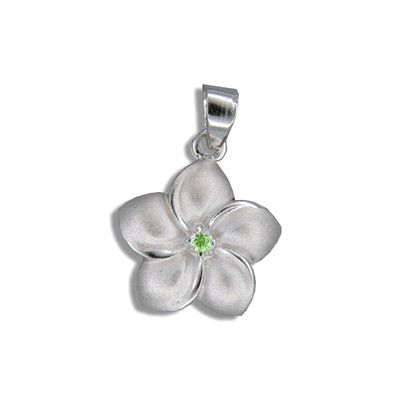 Sterling Silver Hawaiian 15MM Plumeria with Peridot CZ Design Pendant