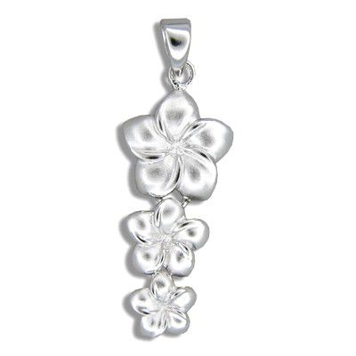 Sterling Silver Hawaiian Past Present and Future Plumeria Design Pendant