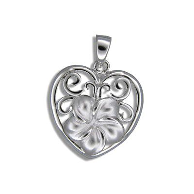Sterling Silver 12MM Hawaiian Plumeria in Heart Design Pendant