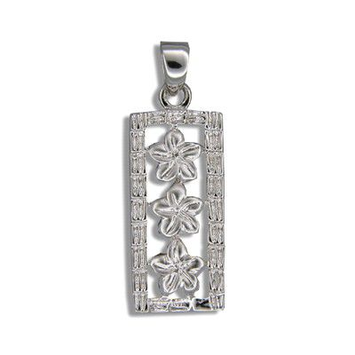 Sterling Silver Triple Hawaiian Plumeria Vertical Pendant