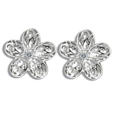 Sterling Silver Cut-in Hawaiian Plumeria with CZ Pierced Earrings