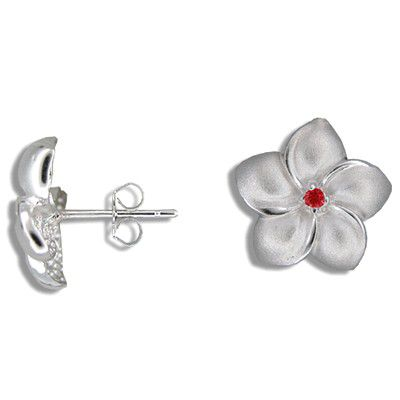 Sterling Silver 15MM Hawaiian Plumeria with Red CZ Pierced Earrings