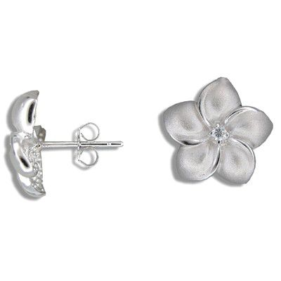 Sterling Silver 15MM Hawaiian Plumeria with Clear CZ Pierced Earrings