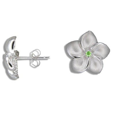 Sterling Silver 15MM Hawaiian Plumeria with Peridot  CZ Pierced Earrings
