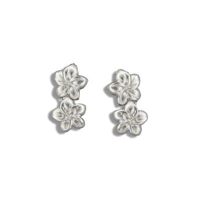 Sterling Silver Double 8MM Hawaiian Plumeria Drop Earrings