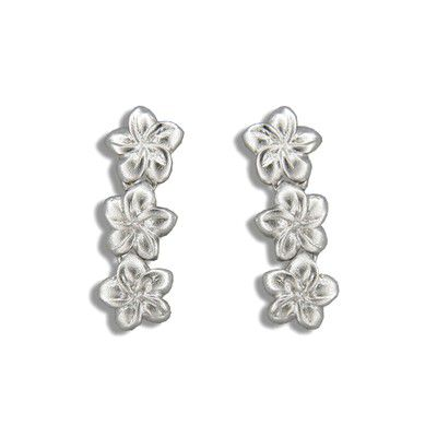 Sterling Silver Triple 7MM Hawaiian Plumeria Drop Earrings