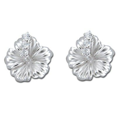 Sterling Silver 15MM Hawaiian Hibiscus with Clear CZ Earrings (L)