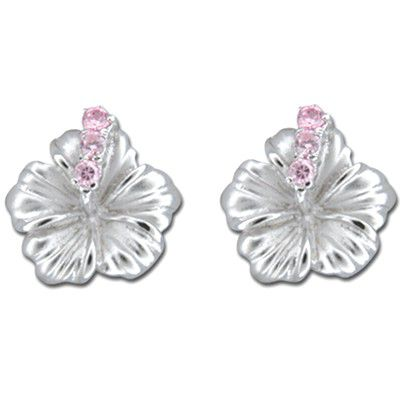 Sterling Silver 15MM Hawaiian Hibiscus with Pink CZ Earrings (L)