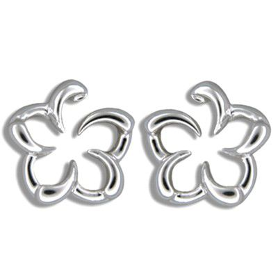 Sterling Silver Open Hawaiian Plumeria Design Pierced Earrings
