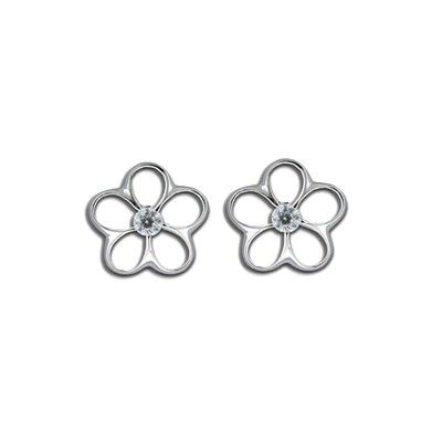 Sterling Silver 10MM Cut-In Hawaiian Plumeria with CZ Pierced Earrings (S)