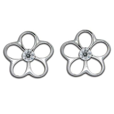 Sterling Silver 15MM Cut-In Hawaiian Plumeria with CZ Pierced Earrings (L)