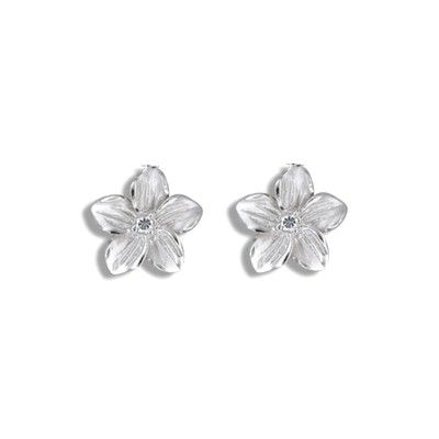 Sterling Silver 10MM Hawaiian Plumeria Pierced Earrings
