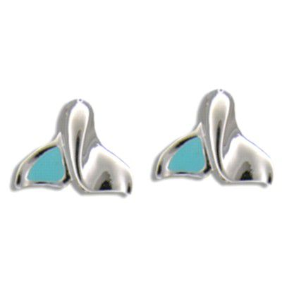 Sterling Silver Jumping Whale Tail with half Blue Enamel Design Pierced Earrings