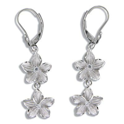 Sterling Silver Double 10MM Hawaiian Plumeria with Lever Back Earrings