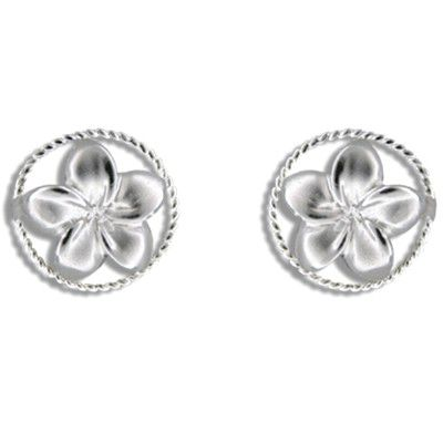 Sterling Silver Hawaiian Plumeria in Circle Design Pierced Earrings