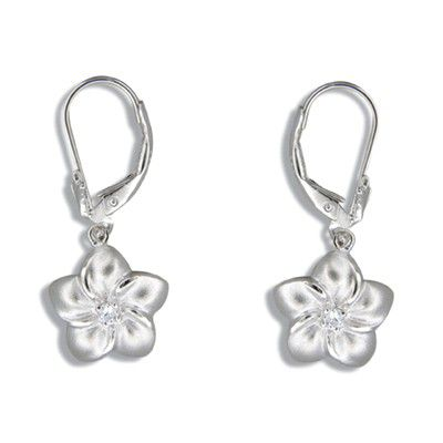 Sterling Silver 12MM Hawaiian Plumeria with Lever Back Earrings
