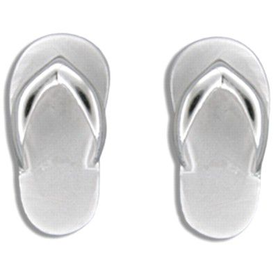Sterling Silver Sand Finished Hawaiian Slipper Pierced Earrings