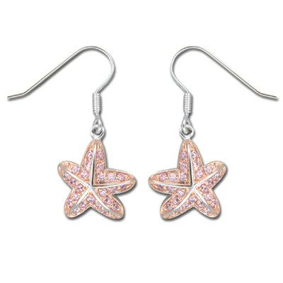 Sterling Silver Hawaiian Starfish Earrings with Pink CZ with Fish Wire Earrings