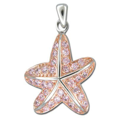 Sterling Silver Pink CZ Starfish Design Pendant with Rose Gold Finish
