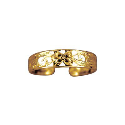 14kt Gold Hawaiian Plumeria Carving Toe Ring