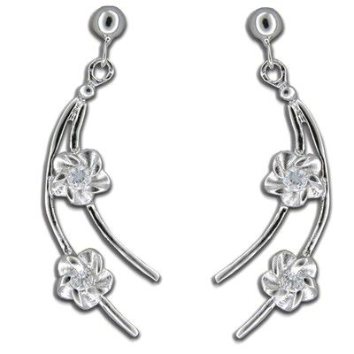 Sterling Silver Hawaiian Plumeria on Branch Design Drop Earrings