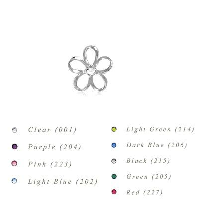 Sterling Silver 10MM Hawaiian Plumeria with Swarovski Crystal Pendant