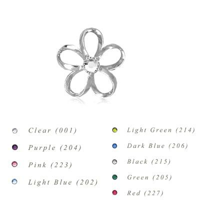 Sterling Silver 15MM Hawaiian Plumeria with Swarovski Crystal Pendant