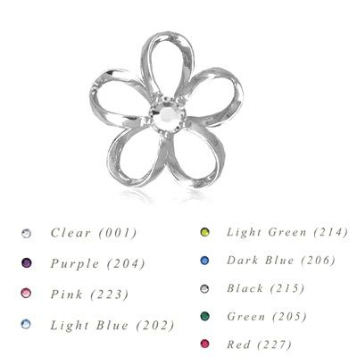 Sterling Silver 18MM Hawaiian Plumeria with Swarovski Crystal Pendant