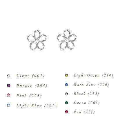 Sterling Silver 8MM Hawaiian Plumeria with Swarovski Crystal Earrings