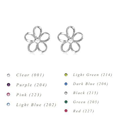 Sterling Silver 10MM Hawaiian Plumeria with Swarovski Crystal Earrings