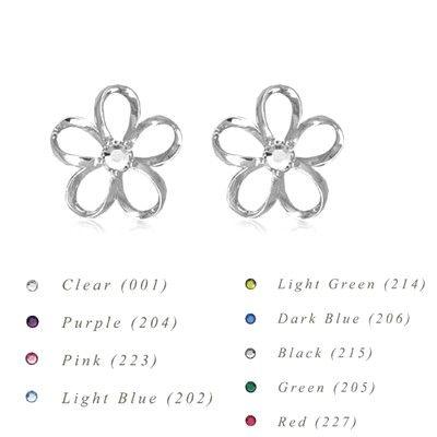 Sterling Silver 12MM Hawaiian Plumeria with Swarovski Crystal Earrings