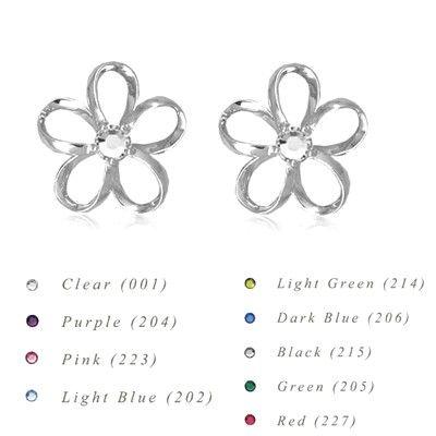 Sterling Silver 15MM Hawaiian Plumeria with Swarovski Crystal Earrings