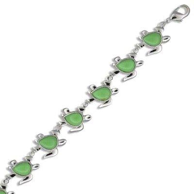 Sterling Silver Hawaiian Green Turquoise Honu Bracelet