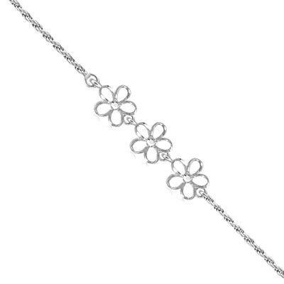 Sterling Silver Triple 8MM Hawaiian Plumeria with Swarovski Crystal Bracelet