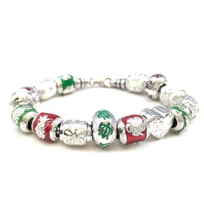 Sterling Silver Christmas Bead Bracelet with Screw End