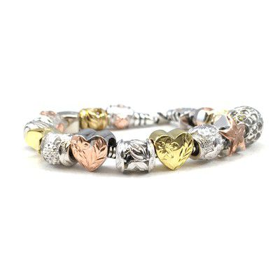 Sterling Silver Valentine's Day Bead Bracelet with Screw End