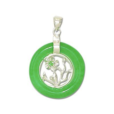 Sterling Silver Hawaiian Plumeria Design Green Jade Pendant