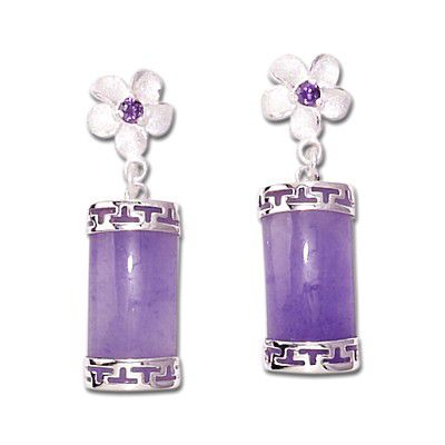 Sterling Silver Hawaiian Plumeria Design Purple Jade Earrings